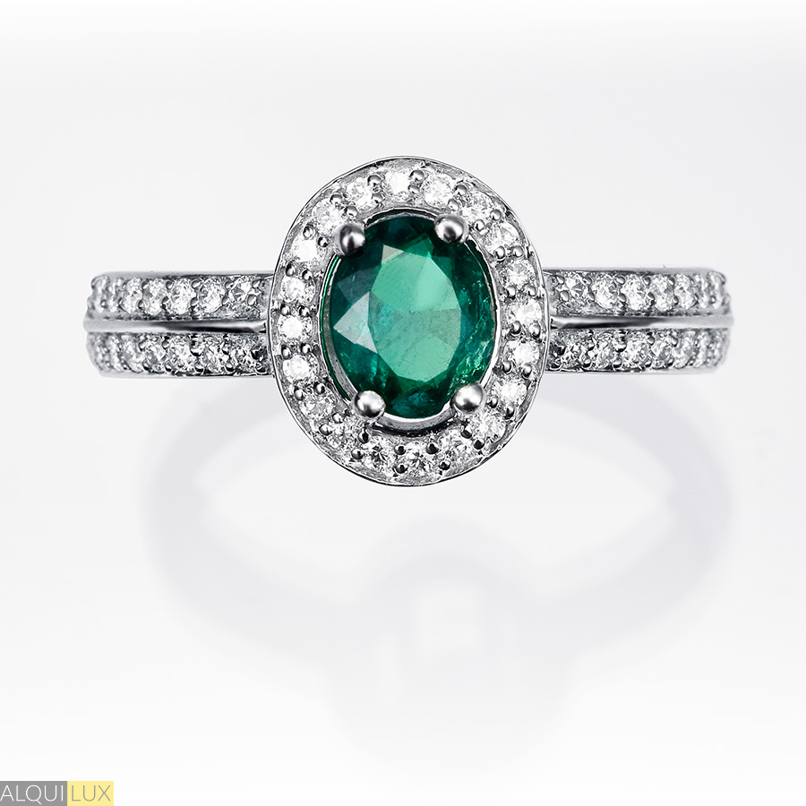 7571247446ff Anillo orla esmeralda y diamantes - ALQUILUX